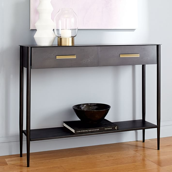 Metalwork Console Hot Rolled Steel Finish Entryway Table Narrow