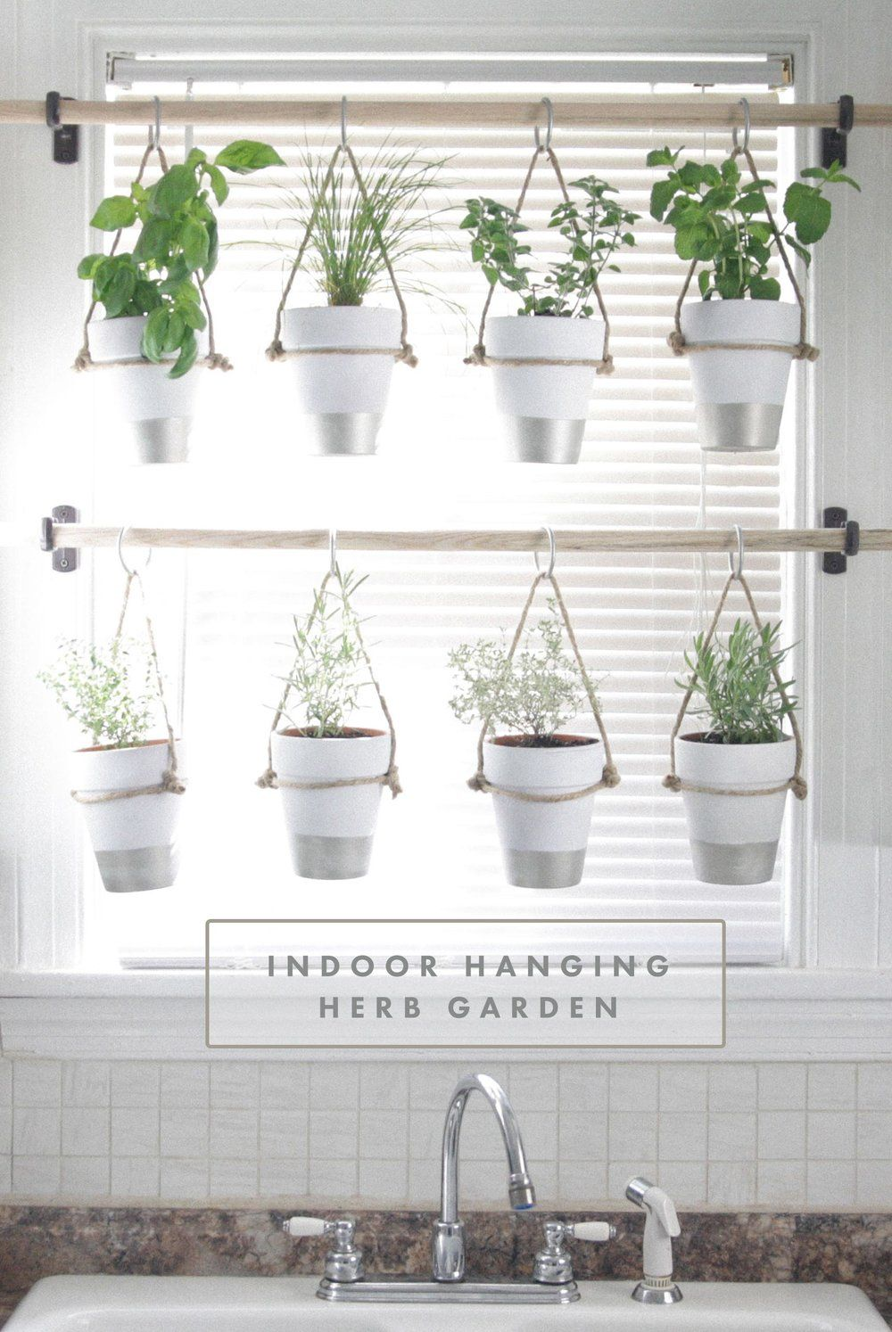 Diy indoor hanging herb garden learn how to make an - How to hang plants in front of windows ...