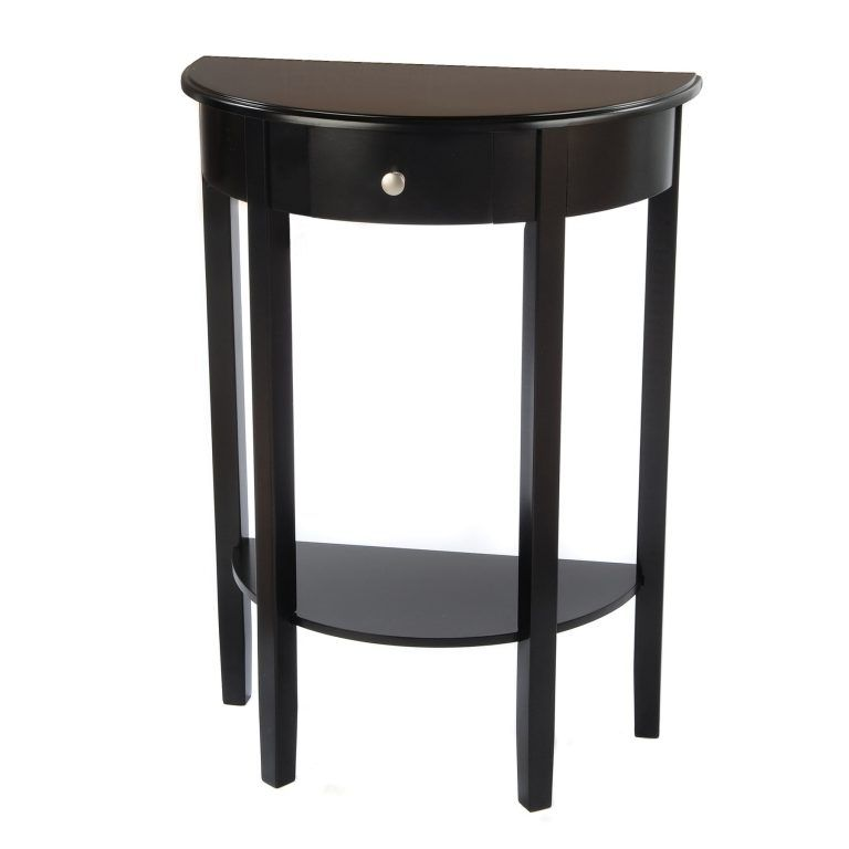 Black Half Round Hall Table Wooden And Drawers Ideas