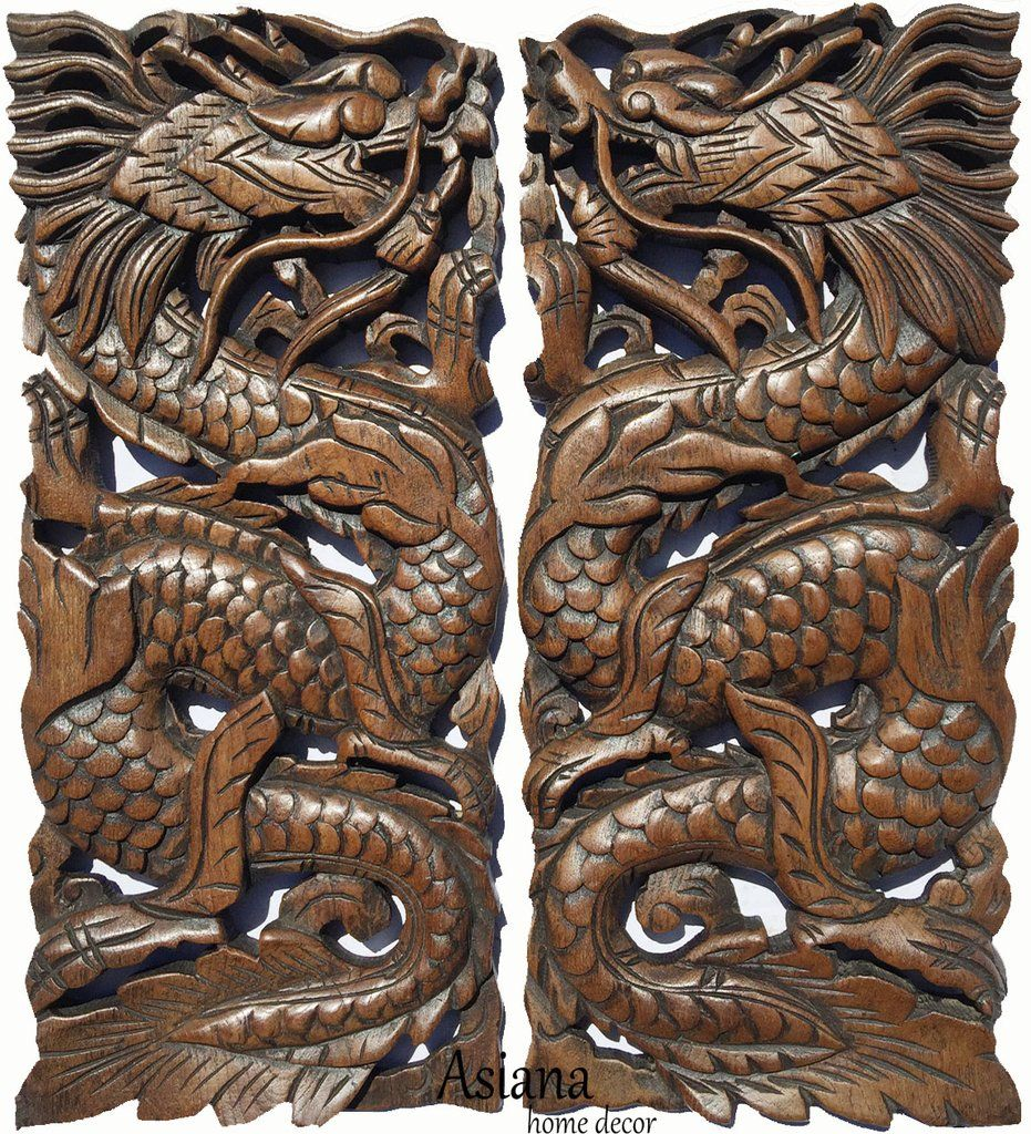 Chinese dragon wood carved wall art panels unique asian home decor