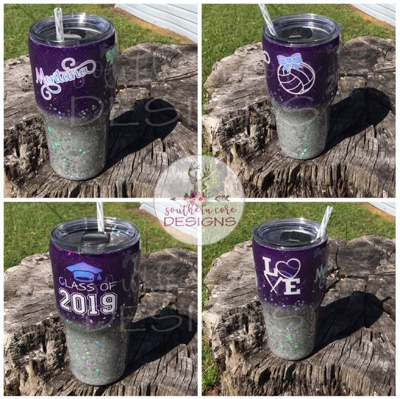 Volleyball Tumbler, Class of 2019, Glitter Cup, Ombre