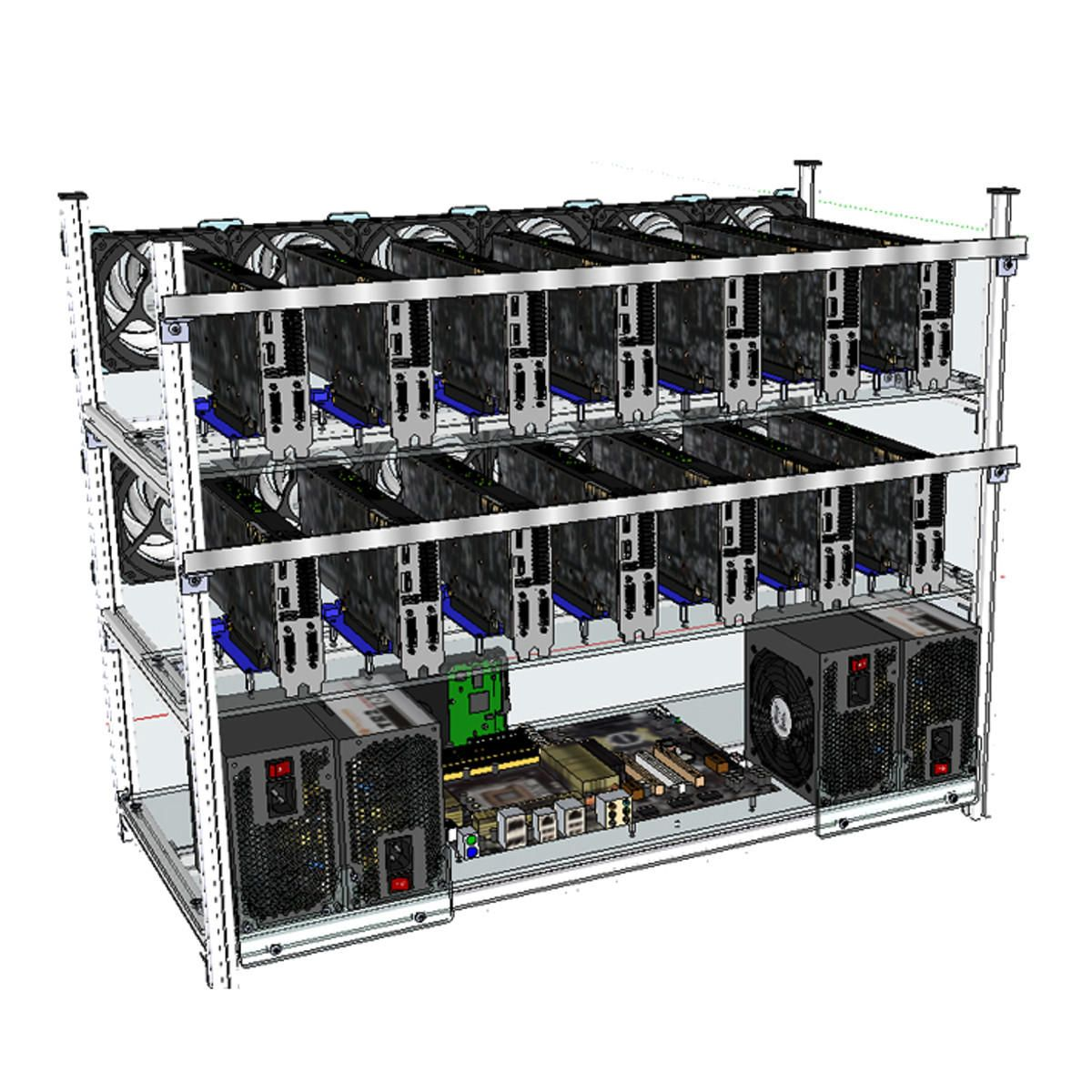Open Air Mining Frame Rig 14 Gpu Stackable Case With 12 Led Fans For Eth Zcash Electrical Equipment Supplies From Industrial Scientific On Banggood Com