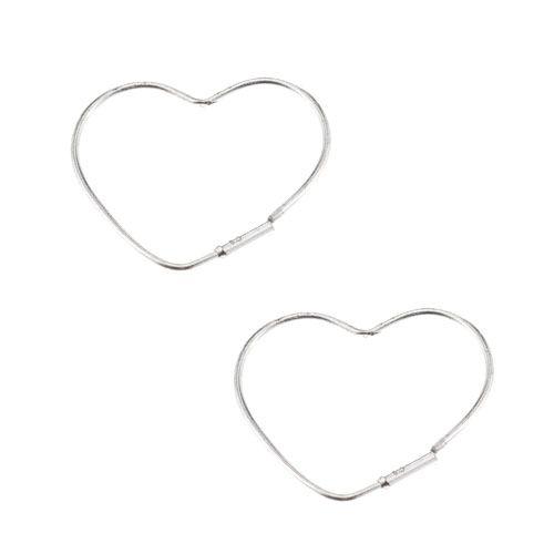 Sterling Silver Heart Shaped Hoop Earrings