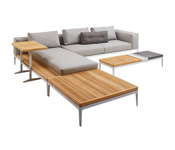 gartensofas | garten-lounge | grid left end table unit - teak top, Terrassen ideen