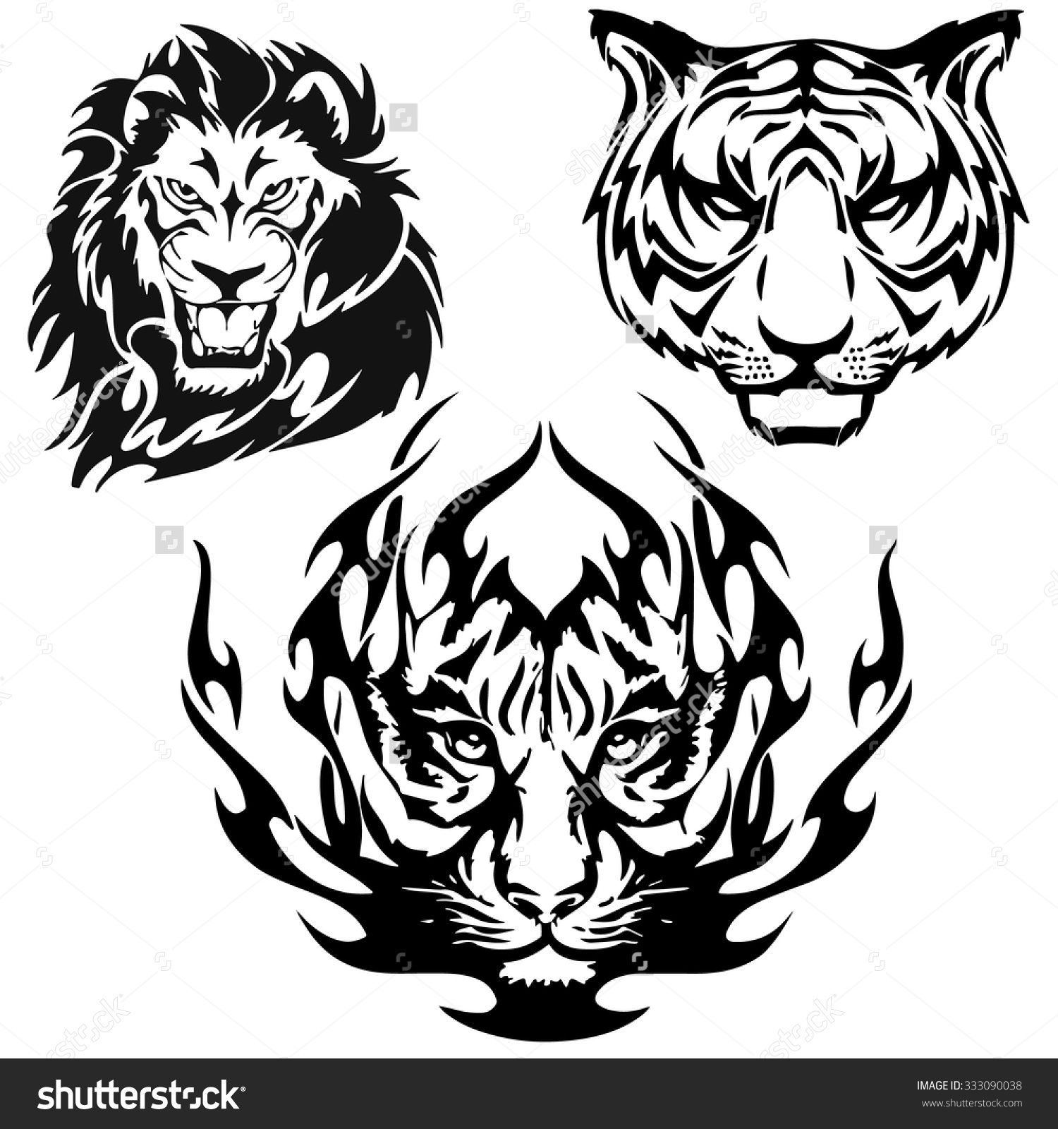 A Lion And Tiger Head Logo In Black And White