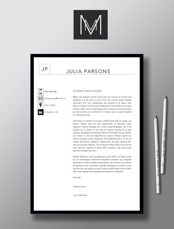 Modern 2 Page Resume Template 1 Page Cover by StudioMTemplates - 1 page resume template