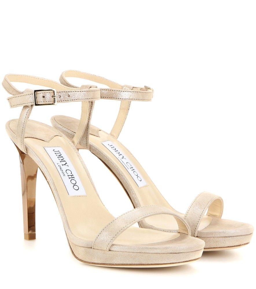09a10ae8ec2 Jimmy Choo - Claudette 100 metallic suede sandals - Jimmy Choo s  Claudette  100  sandals are crafted from soft suede with a shimmering finish for a  subtly ...