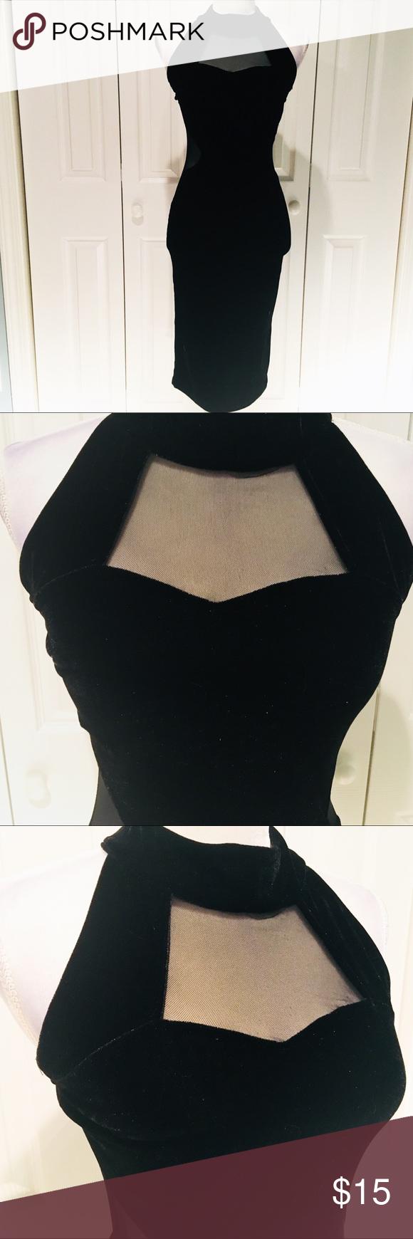 Nwt long sleeveless velvet dress w mesh cutouts nwt my posh picks