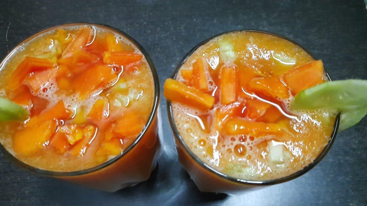 Healthy And Tasty Papaya Cucumber Juice, How To Prepare