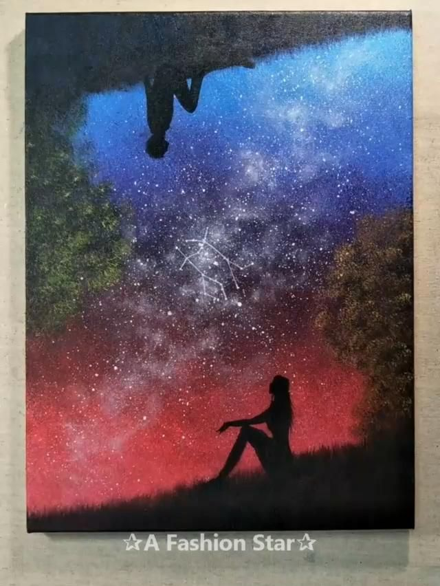 Amazing Night Stars Oil Painting Idea