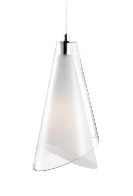 Kuzco lighting 401081 single lamp pendant with cone shaped white opal and clear glass