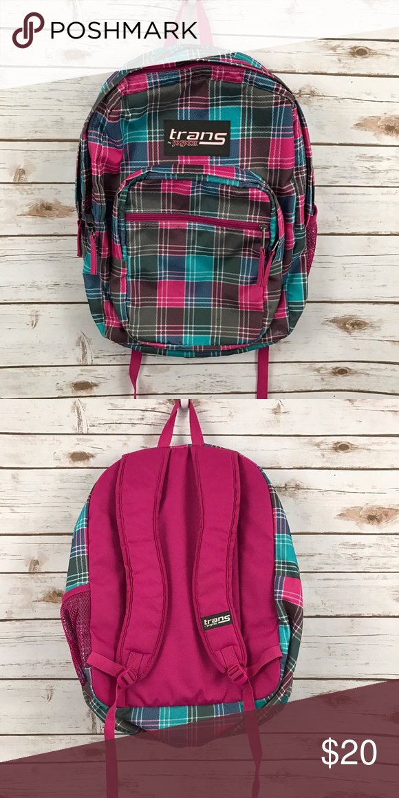 c13029ddc Trans Jansport Supermax Backpack Pink/Gray Plaid Trans by Jansport supermax  backpack. Holds everything