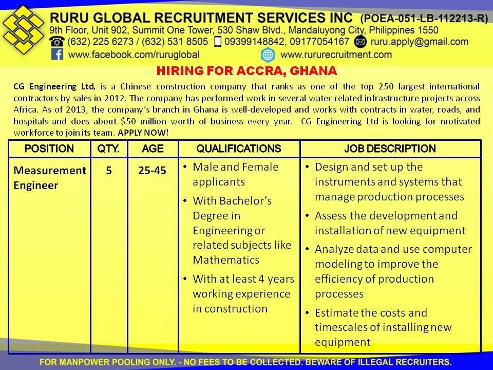 CG Engineering Ltd. Accra, Ghana Hiring for Engineers