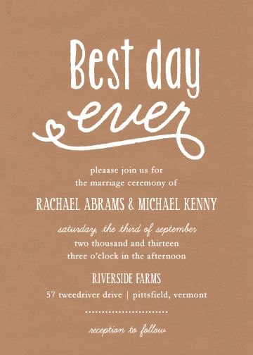Wedding Invitations Best Day Ever By