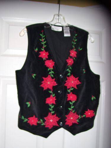 Christmas Sweater Cardigan Vest Black Velveteen Red Poinsettia Gold Beads M Ugly | eBay