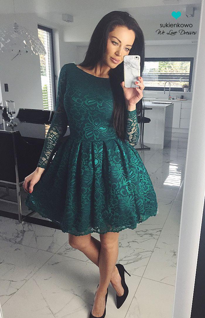 bf00230811 Sukienkowo.pl - DIANA - Rozkloszowana koronkowa sukienka szmaragdowa ...