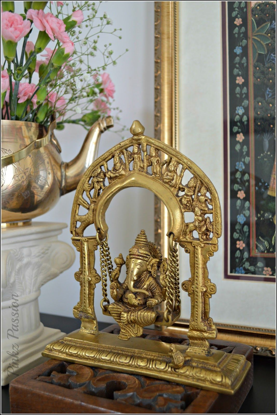 ashta lakshmi urli 6300 bronze statues indian handicrafts swing ganesha spring decor front foyer indian decor brass collections ganesha