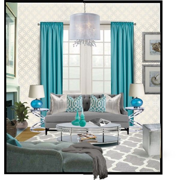 Gray And Teal Living Room By Jurzychic On Polyvore: Living Room Turquoise, Living Room