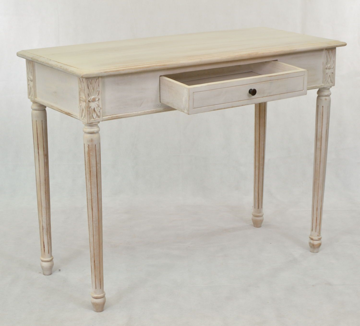 Solid wood console table in the white painted finish