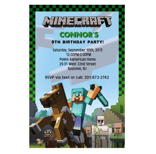 Minecraft Birthday Party Invitation Wording Ideas – Mine Craft Invitation Template