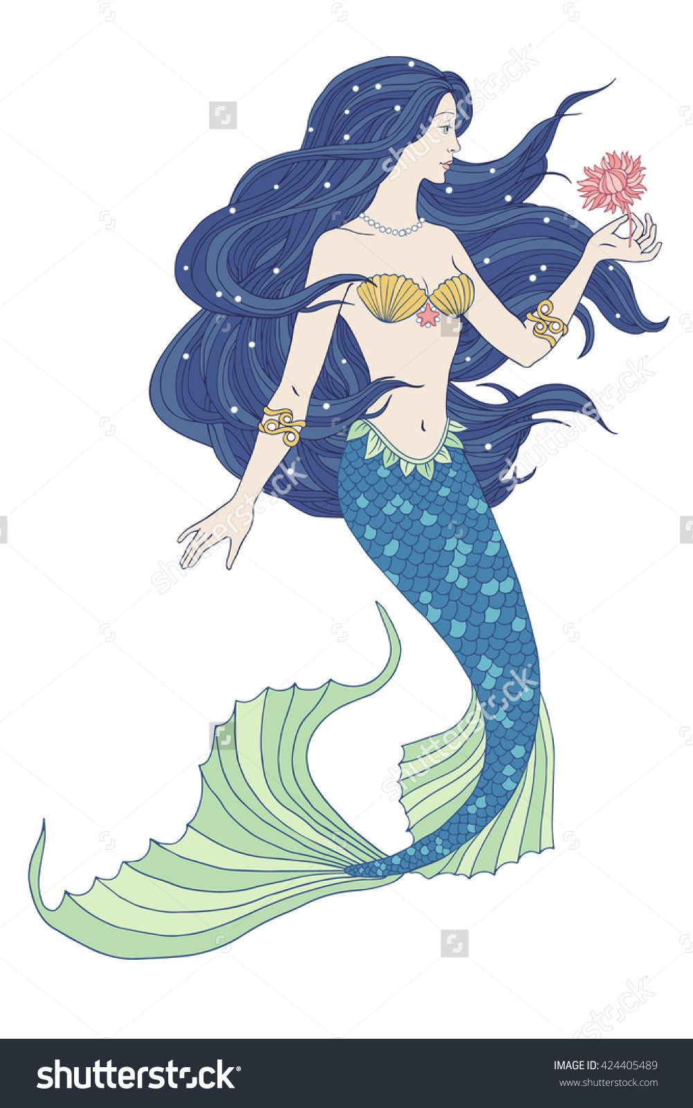 Hand Drawn Mermaid Holding A Flower, On White Background