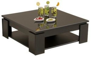 Parisot 9459taba table basse quadri noir mlamine brillante noir