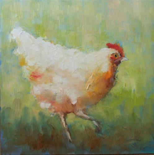 "Original Fine Art For Sale: ""Little White Chicken Study"""
