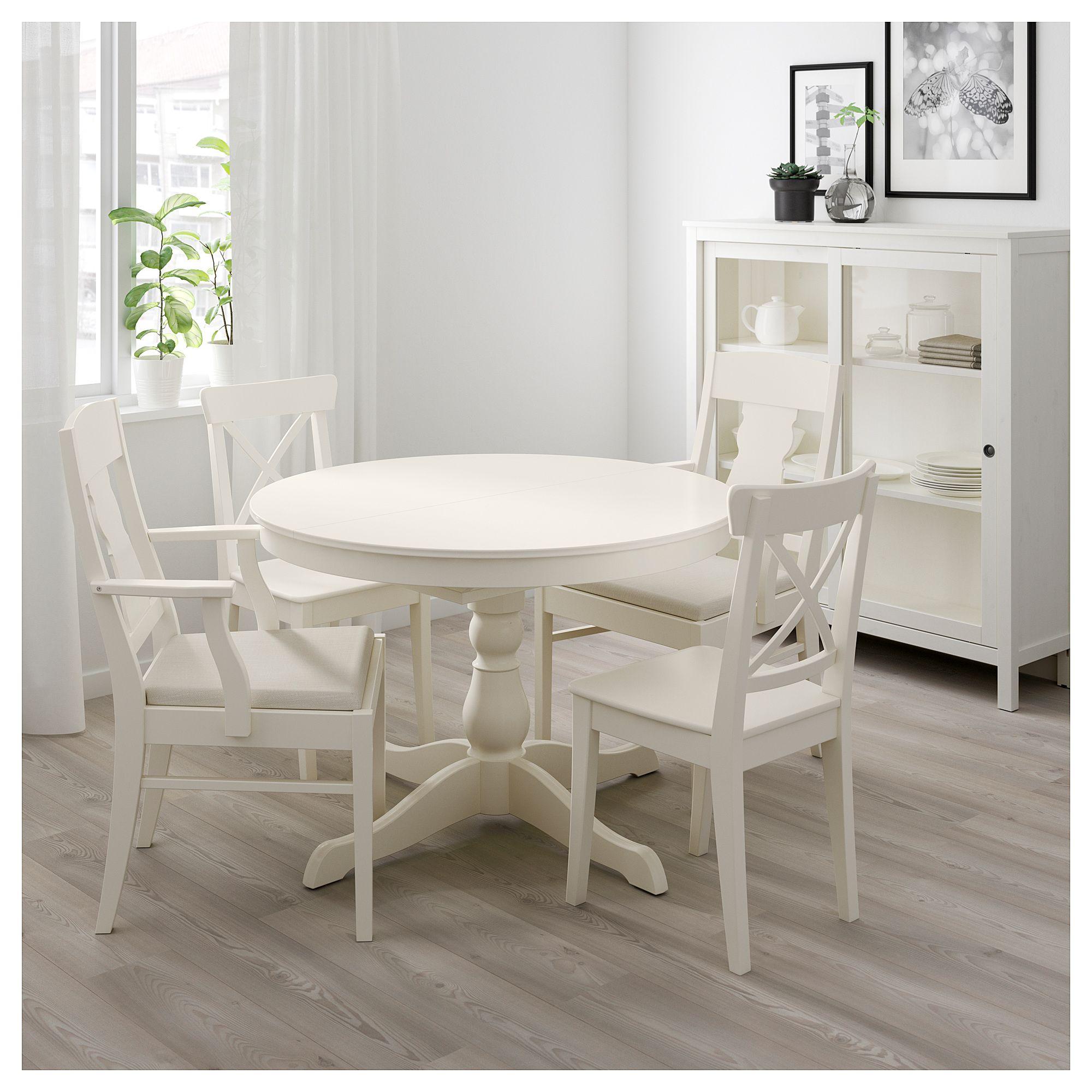Ingatorp Ingolf Tisch Und 4 Stuhle Weiss Nordvalla Beige