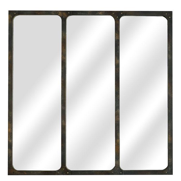 Miroir mural en m tal 3 bandes verticales rouille 70x70cm marco get this for Miroir mural industriel