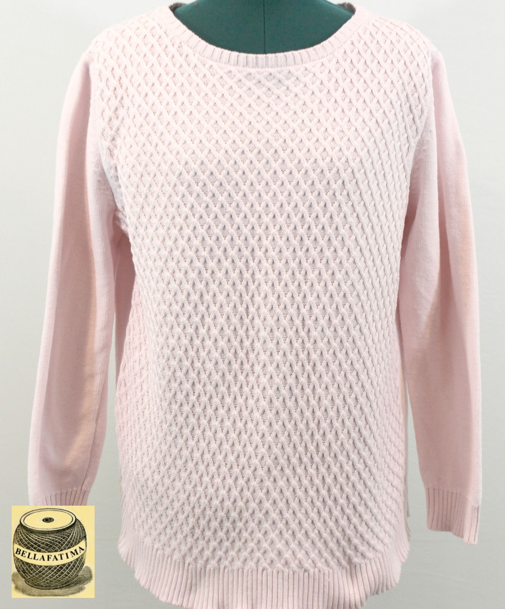 Pale Pink Cotton Sweater with honeycomb pattern. By Karen Scott ...