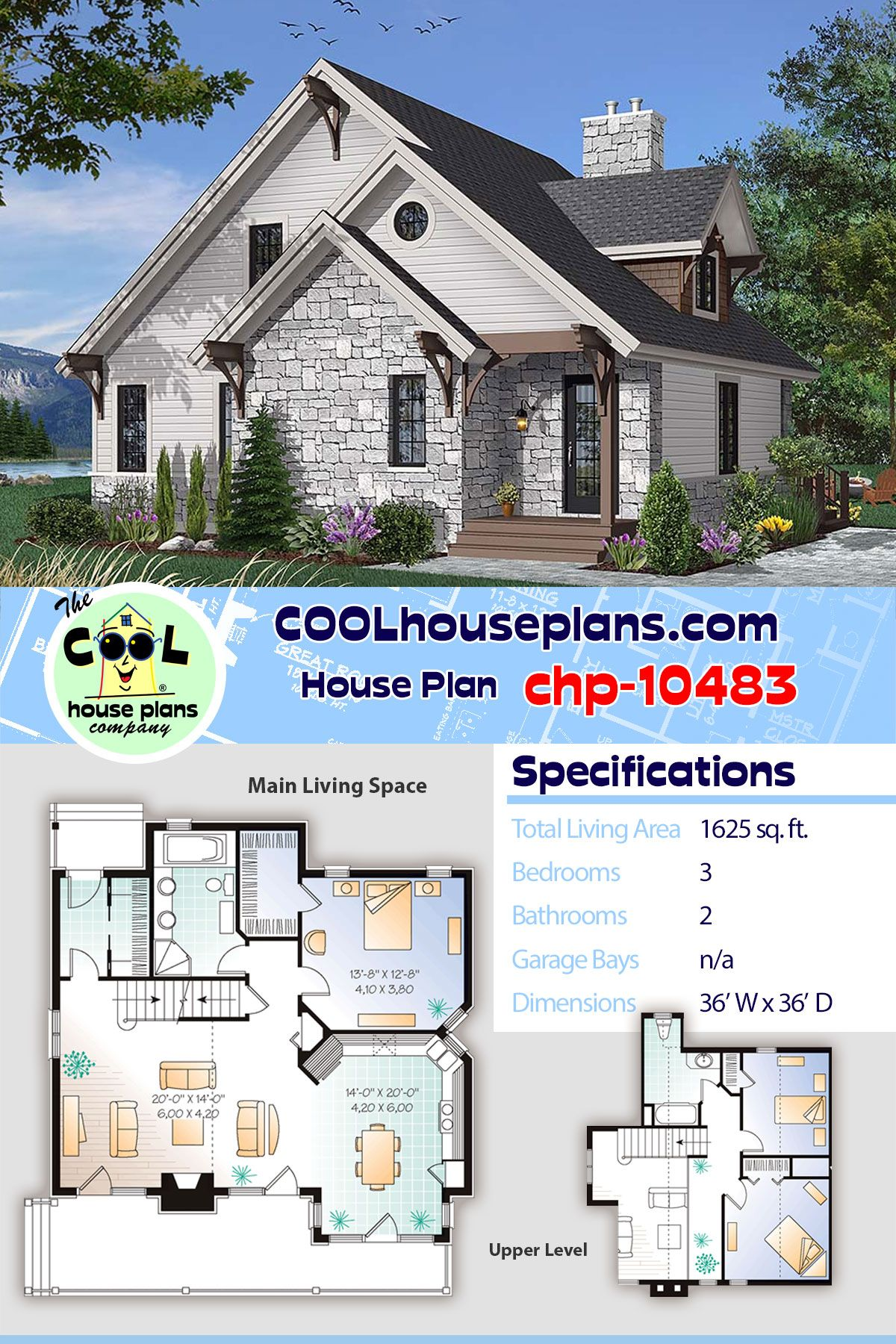 1625 Sq Ft Craftsman Cottage Home Plan Chp 10483 Has 3 Bedrooms 2 Baths Cottage House Plans Craftsman Cottage House Plans