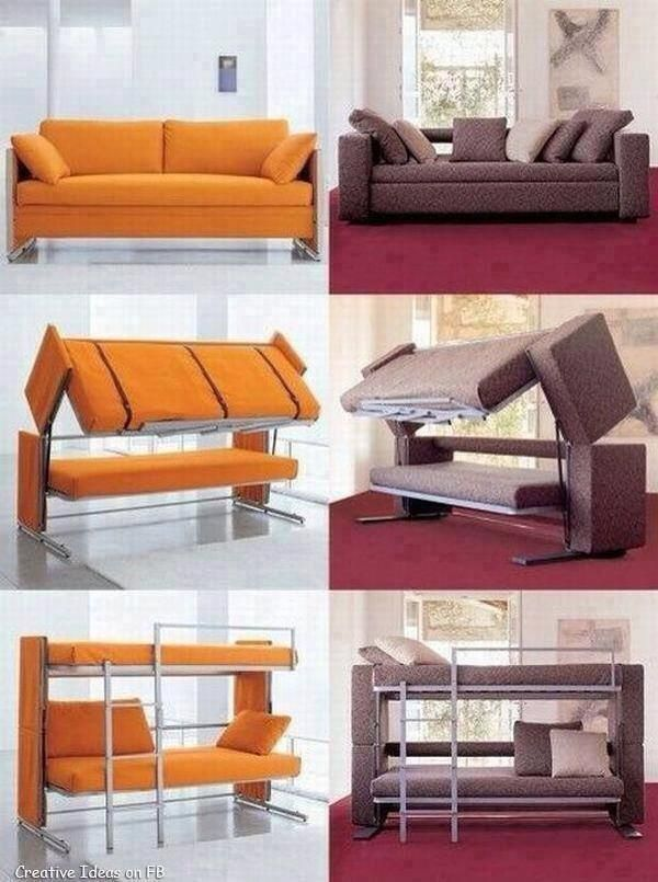 A Sofa Tranforming Into A Double Deck Bed Via Twitter