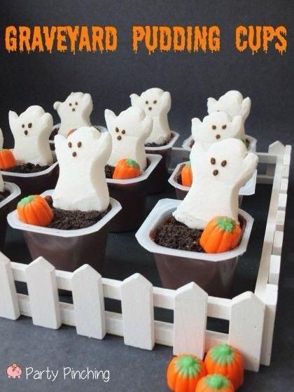 Easy Halloween treat Pudding cup Crushed Oreo cookie Corn Pumpkin - halloween cooking ideas