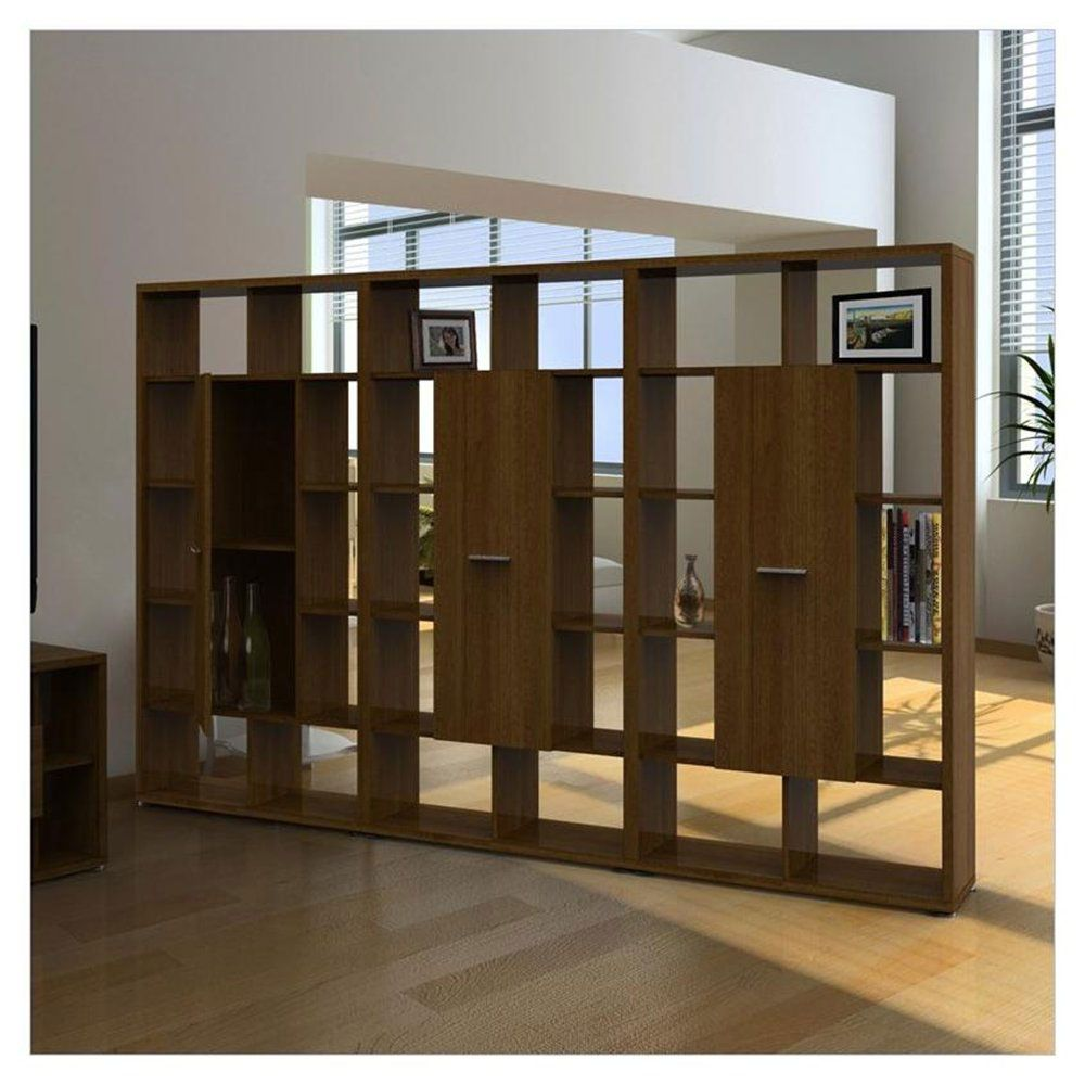 Accessories FurnitureGlamorous Solid Wooden Bookshelf Wall Divider For Your Living Room With TV Cabinet Featuring White Color Combine Pine