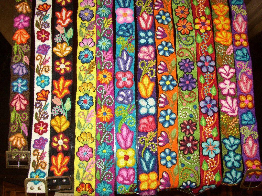 b37e8e7316ec peruvian Wool embroidered flower belt.  30.00