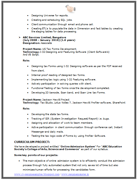 Bsc It Resume Format Page   Career    Resume Format