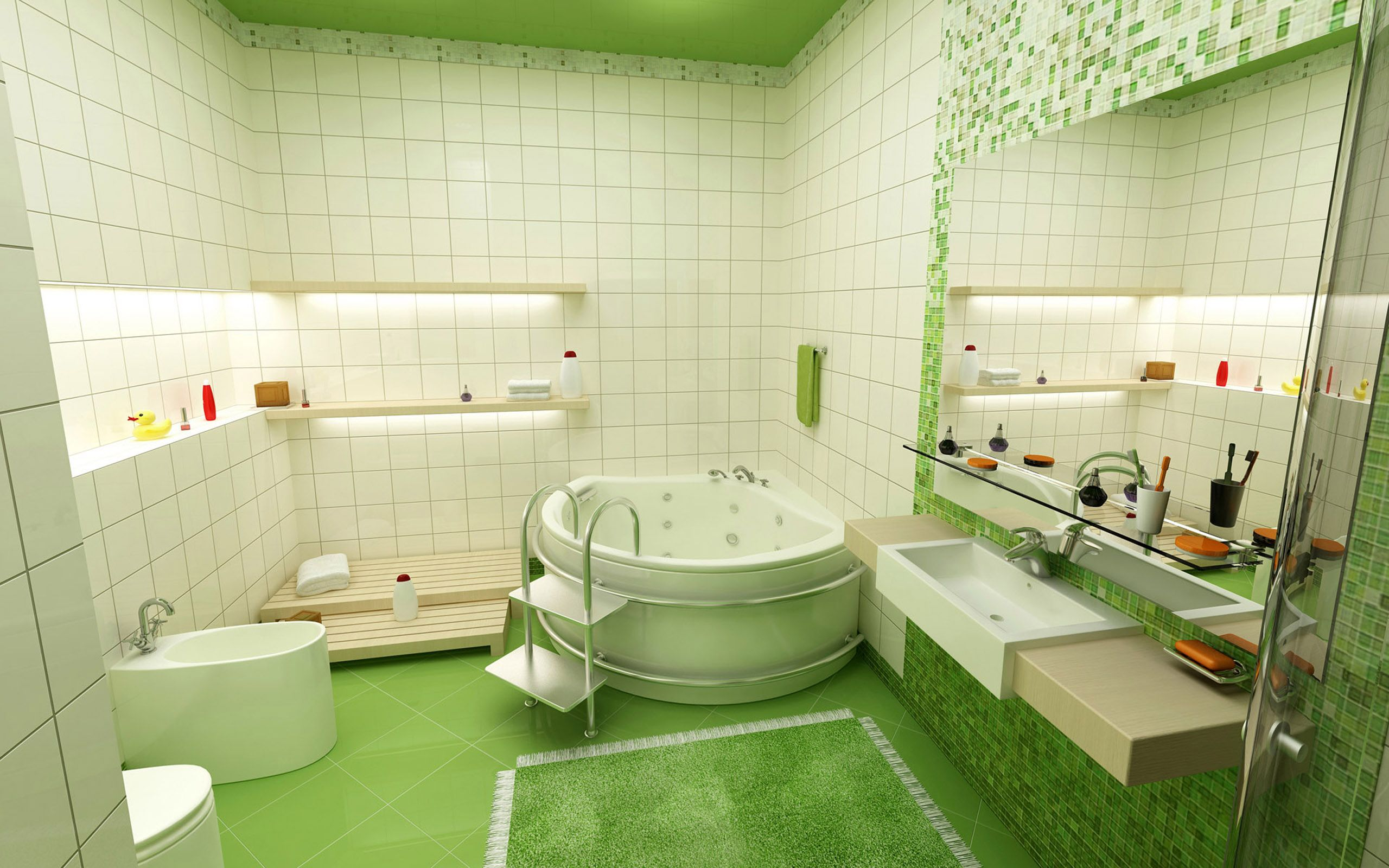 Bathroom Set Ideas With Ultra Modern Bathtub And Toilet Also Beautiful Green Rug Design For Kid Sets