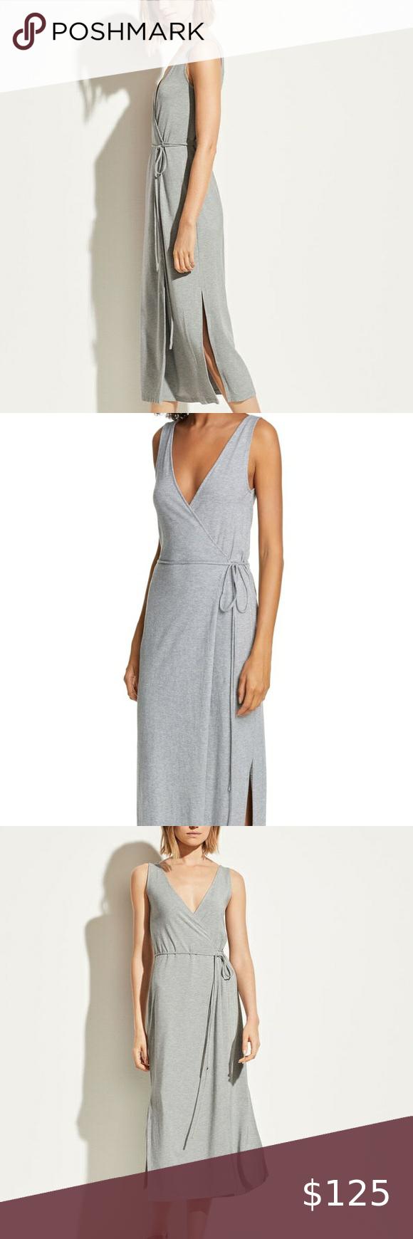 Nwt Vince V Neck Midi Wrap Dress Size Medium Wrap Dress Vince Dress Dresses [ 1740 x 580 Pixel ]