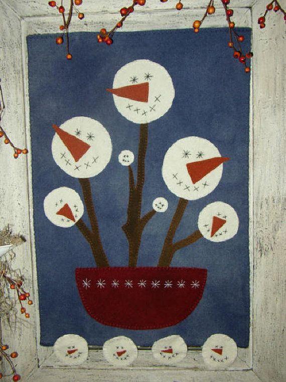 Primitive Folk Art Quilt Pattern Winter by PrimitiveQuilting, $8.00 ...