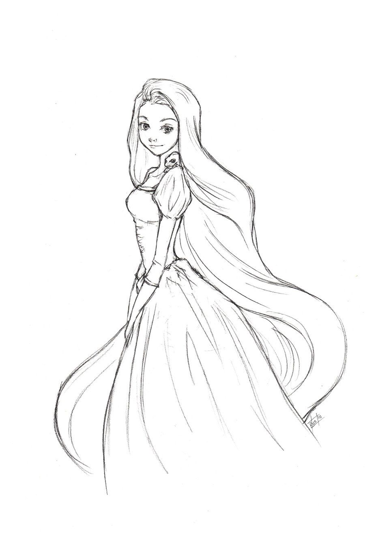 Rapunzel Sketch By Ricochet X On Deviantart Disney And