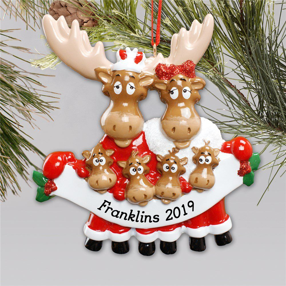 Personalized Moose Family Christmas Ornament in 2020