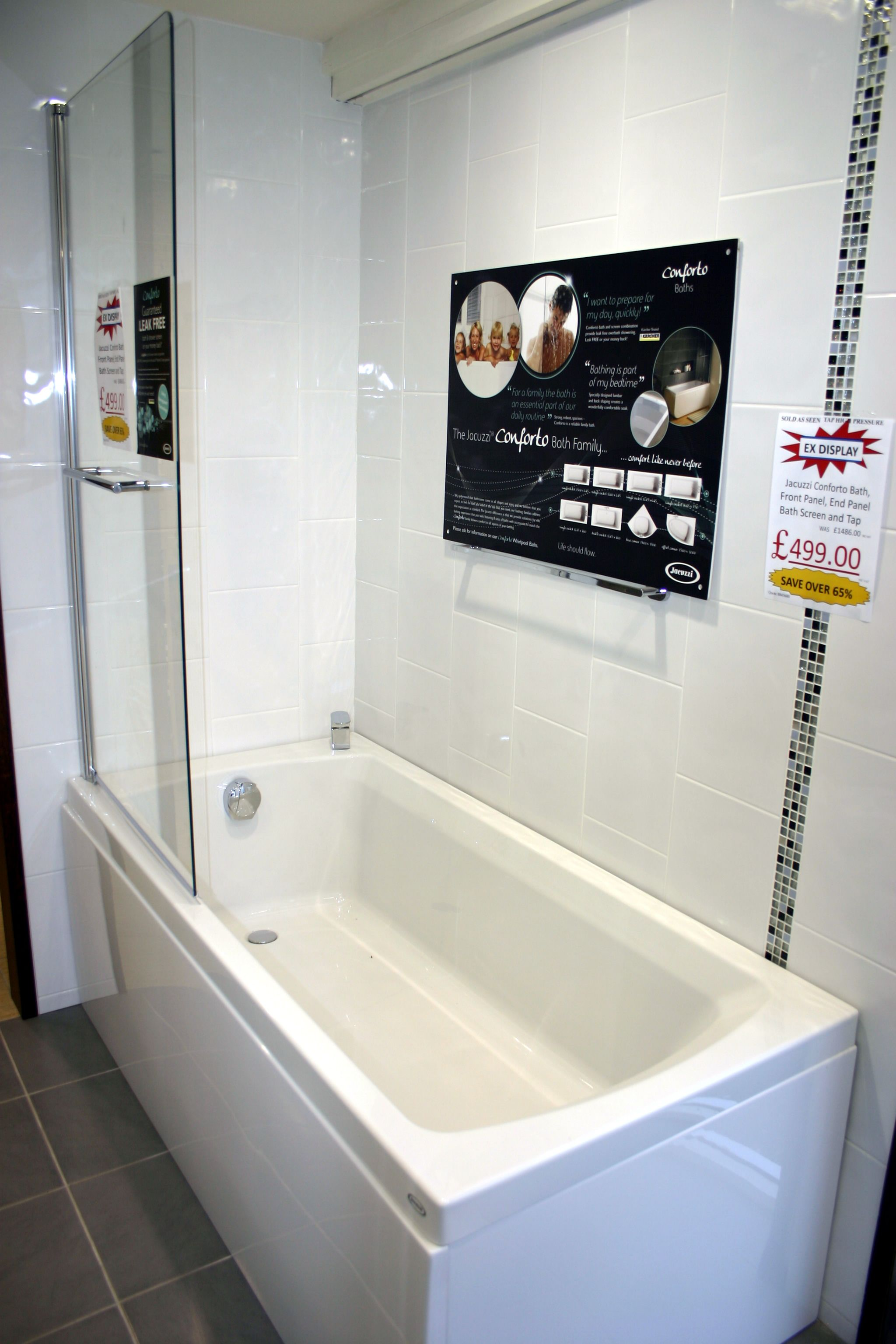 Ex Display Jacuzzi Conforto Bath With Front And End Panel Bath Screen And Tap For Just 499 Instead Of 1 486 If Intere Bath Screens Bathroom Suites Jacuzzi