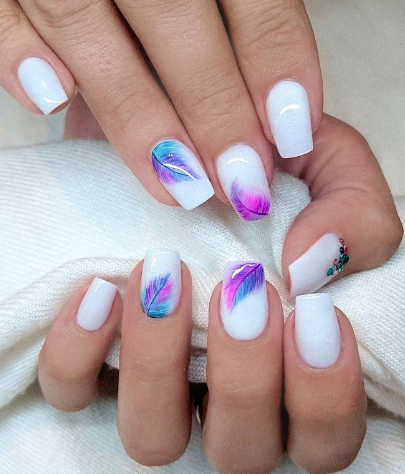 White with Purple Pink Teal feathers | Nails | Pinterest | Teal ...