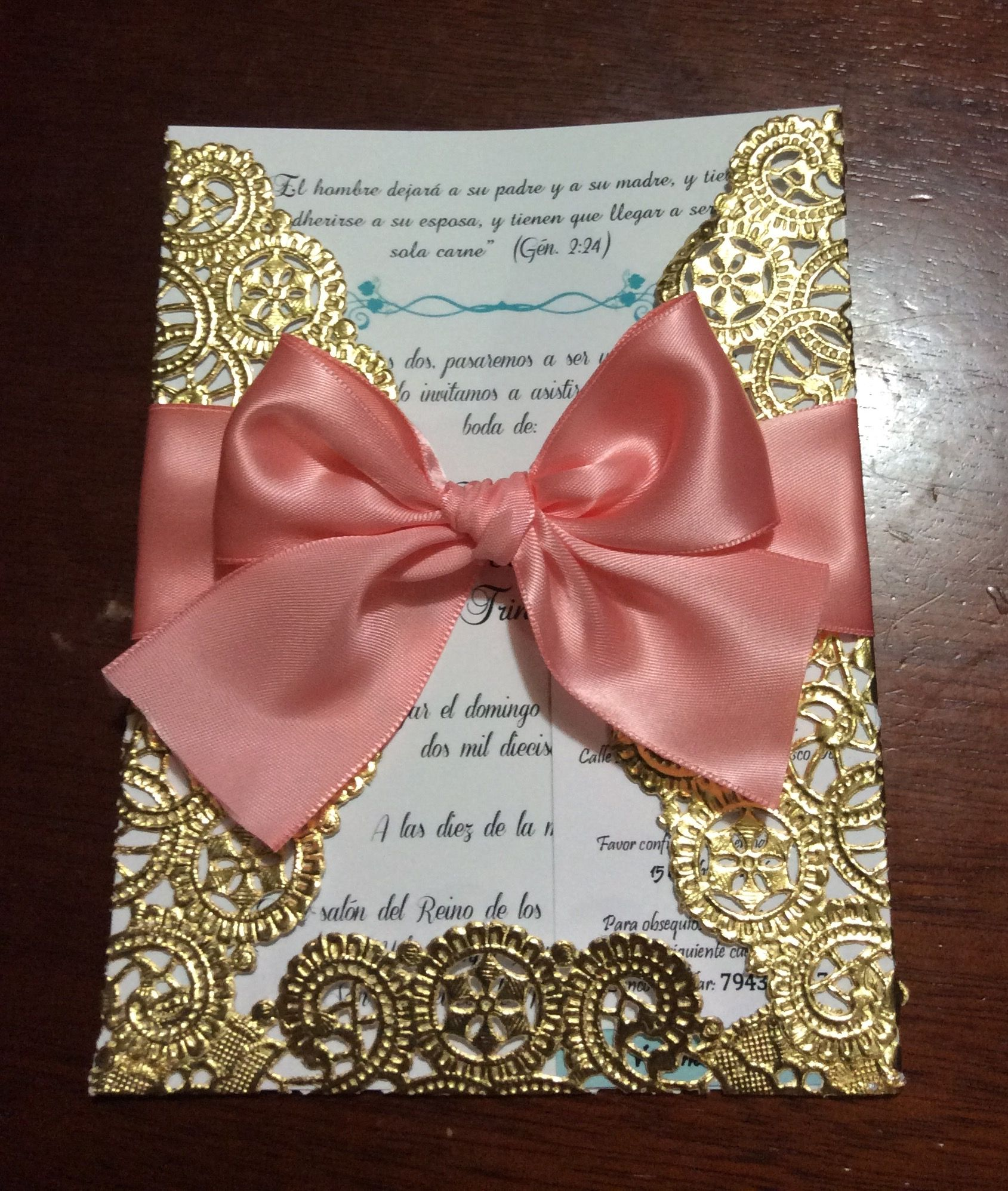 Beautiful gold lace coral wedding invitation. DIY doily invitation ...