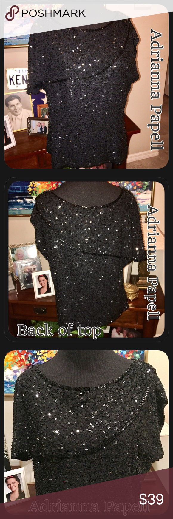 🌷Adrianna Papell Occasions Black Sequin Top sz 14 Beautiful like new Adrianna Papell black Sequin top, sleeves are like cap or sleeveless but has drape that's connect & covers top of right arm. See pic 4 for pic of the drape close up. Beaded neckline. Sequins all over & intact! Front & back! (Pic 2 is back) gorgeous! Would be great with dress pants or a skirt for a special occasion! Adrianna Papell Tops