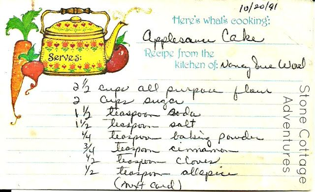 Stone Cottage Adventures: Favorite Family Recipe - Applesauce Cake and Fruit Cake  ~ page 1 of 3
