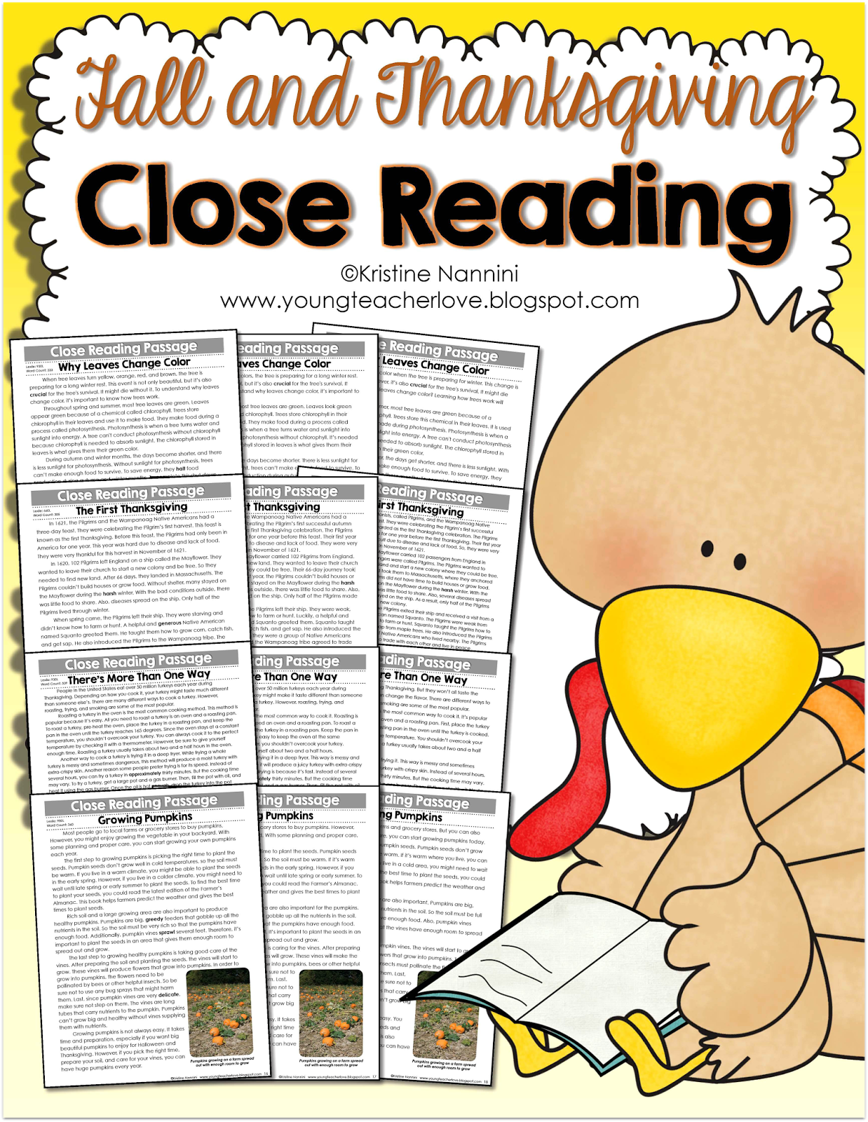 Fall And Thanksgiving Close Reading Passages Text