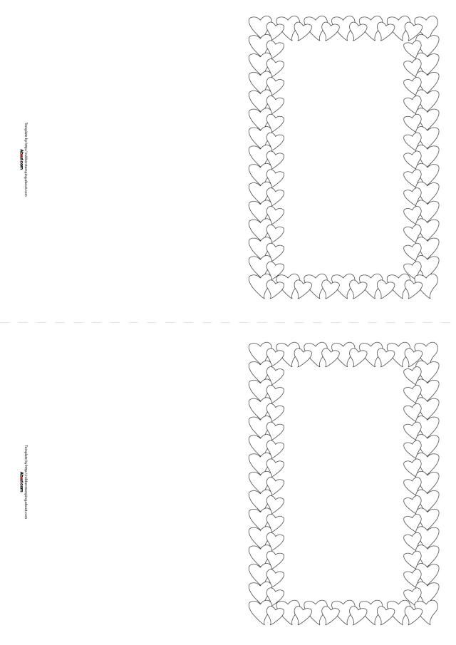 Templates for Handmade Valentine's Day Cards: Heart Border for Rubber Stamping Valentine's Day Cards (Horizontal-2 Per Page)