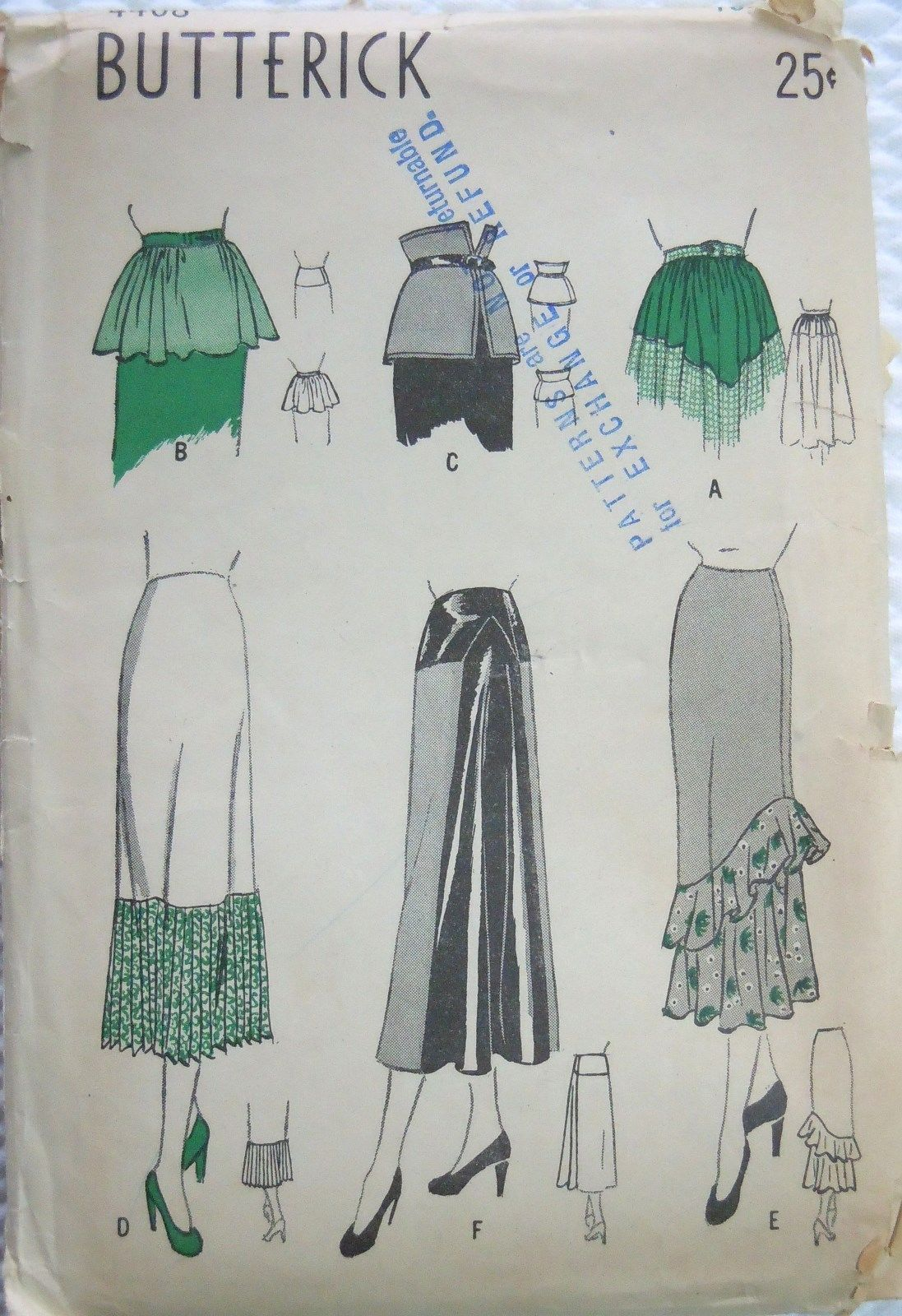 Vtg 1940's Butterick Pattern 4408 Skirt Yokes Flounces Peplums