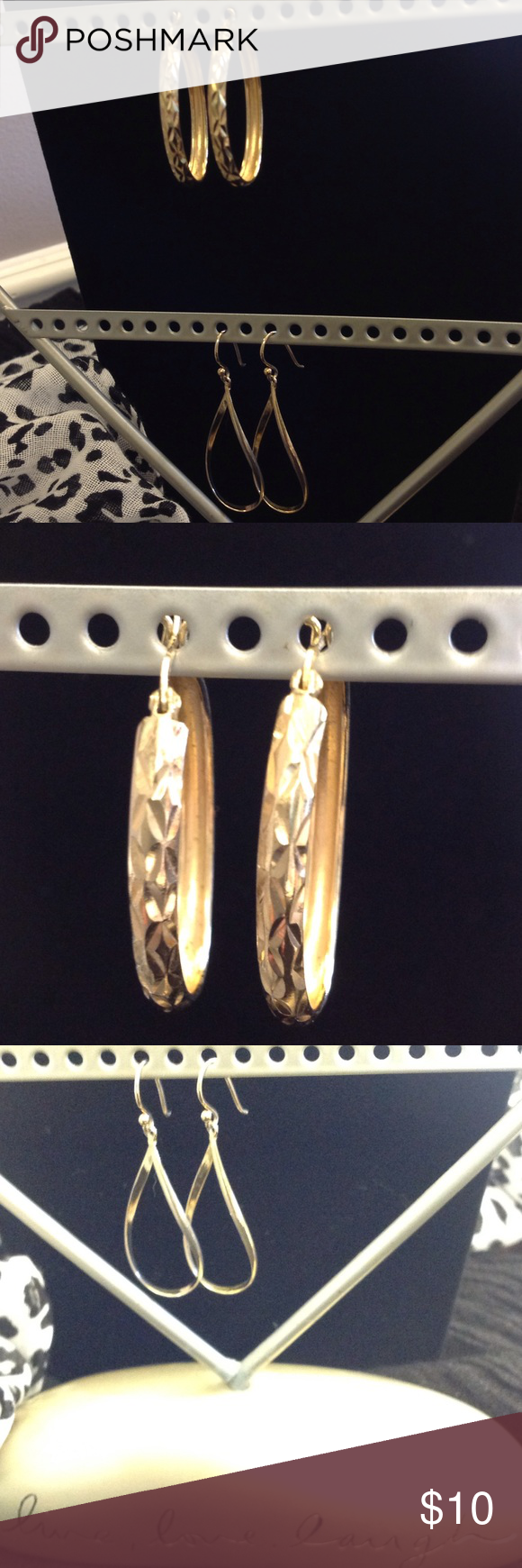 "Gold plated earring bundle of 2 Diamond cut earrings are 1 1/2"" long. Bottom pair has cool twist to them they are 2"" long. Both pair clean well with jewelry cloth. Diamond cut pair have never turned. Jewelry Earrings"